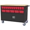 Akro-Mils Lvrd Cart w/Locking Doors 32 AkroDrawers, Black/Red