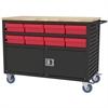 Akro-Mils Lvrd Cart w/Locking Doors 16 AkroDrawers, Black/Red