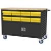 Lvrd Cart w/Locking Doors 16 AkroDrawers, Black/Yellow
