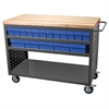 Louvered Cart, 32 AkroDrawers, Gray/Blue