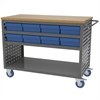 Akro-Mils Louvered Cart, 16 AkroDrawers, Gray/Blue
