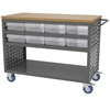 Akro-Mils Louvered Cart, 16 AkroDrawers, Gray/Clear
