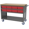 Akro-Mils Louvered Cart, 16 AkroDrawers, Gray/Red, Gray/Red