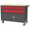 Akro-Mils Lvrd Cart w/Locking Doors 36 AkroDrawers, Gray/Red