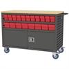 Akro-Mils Lvrd Cart w/Locking Doors 36 AkroDrawers, Gray/Red
