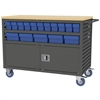 Akro-Mils Lvrd Cart w/Locking Doors 32 AkroDrawers, Gray/Blue