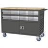 Lvrd Cart w/Locking Doors 16 AkroDrawers, Gray/Clear