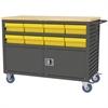 Akro-Mils Lvrd Cart w/Locking Doors 16 AkroDrawers, Gray/Yellow