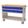 Akro-Mils Louvered Cart, 32 AkroDrawers, Putty/Blue
