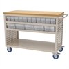 Akro-Mils Louvered Cart, 32 AkroDrawers,Clear, Putty/Clear