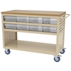 Akro-Mils Louvered Cart, 16 AkroDrawers,Clear, Putty/Clear