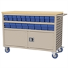 Lvrd Cart w/Locking Doors 38 AkroDrawers, Putty/Blue
