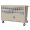 Akro-Mils Lvrd Cart w/Locking Doors 38 AkroDrawers, Putty/Clear