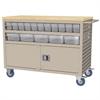 Akro-Mils Lvrd Cart w/Locking Doors 32 AkroDrawers, Putty/Clear