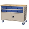 Akro-Mils Lvrd Cart w/Locking Doors 16 AkroDrawers, Putty/Blue