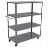 4-Shelf Cart, 24x48, 5 Polyolefin, Gray