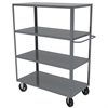 Akro-Mils 4-Shelf Cart, 30x48, 8 Mold-On Rubber, Gray