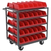 5-Shelf Cart w/ 10 System Bins, 24x36, Gray/Red
