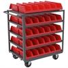 Akro-Mils 5-Shelf Cart w/ 10 System Bins, 24x36, Gray/Red