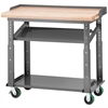 HD Mobile Work Table, 24x48 Adjust Ht, Gray