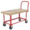 Akro-Mils Adj Work Height Platform Truck, Wood, Red