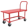 Adj Work Height Platform Truck, Steel, Red