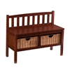 Southern Enterprises Bench w/ Storage Baskets - Espresso
