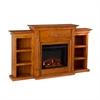 Southern Enterprises Tennyson Electric Fireplace w/ Bookcases - Glazed Pine