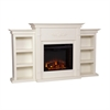 Southern Enterprises Tennyson Electric Fireplace w/ Bookcases - Ivory