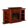 Southern Enterprises Tennyson Electric Fireplace w/ Bookcases - Classic Mahogany