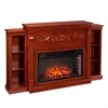 Southern Enterprises Locksley Bookcase Electric Fireplace - Classic Mahogany
