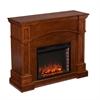Lantana Corner Convertible Electric Fireplace - Oak Saddle