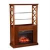 Southern Enterprises Gentry Infrared Electric Fireplace Curio Tower - Oak Saddle