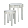 Round Mirrored Nesting Table 2pc Set