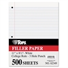 TOPS Filler Paper, 3H, 16 lb, 8 1/2 x 11, College Rule, White, 500 Sheets/Pack