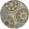 "KAS Rugs Anise 2408 Ivory/Seafoam Mosaic 5'6"" Round Size Area Rug"