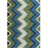 "Anise 2420 Blue/Green Chevron 5'6"" Round Size Area Rug"