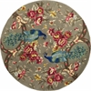 "Catalina 0732 Sage Peacock Flora 5'6"" Round Size Area Rug"
