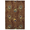 "Catalina 0748 Mocha Peacock Feathers 30"" x 50"" Size Area Rug"