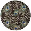 "Catalina 0748 Mocha Peacock Feathers 5'6"" Round Size Area Rug"