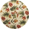 "Catalina 0780 Ivory Tropical Flora 5'6"" Round Size Area Rug"