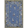 "Colonial 1335 Blue Light Houses 3'6"" x 5'6"" Size Area Rug"