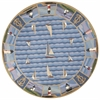 "Colonial 1335 Blue Light Houses 7'6"" Round Size Area Rug"