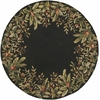 "Emerald 9001 Black Tropical Border 7'6"" Round Size Area Rug"