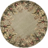 "Emerald 9026 Sage Tropical Border 5'6"" Round Size Area Rug"
