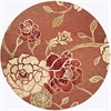 "Horizon 5708 Brick Red Flora 6'9"" Round Size Area Rug"