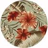 "Horizon 5714 Sage Green Hibiscus 6'9"" Round Size Area Rug"