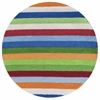 KAS Rugs Kidding Around 0434 Chic Stripes 3' Round Size Area Rug