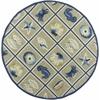 "Meridian 2528 Beige/Blue Oceana 7'6"" Round Size Area Rug"