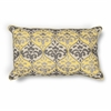 "KAS Rugs L221 Yellow/Grey Damask Pillow 12"" x 20"" Size Pillows"